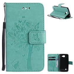 Embossing Butterfly Tree Leather Wallet Case for LG K4 - Cyan