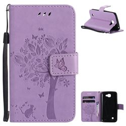 Embossing Butterfly Tree Leather Wallet Case for LG K4 - Violet