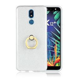 Luxury Soft TPU Glitter Back Ring Cover with 360 Rotate Finger Holder Buckle for LG K40 (LG K12+, LG K12 Plus) - White