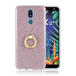 Luxury Soft TPU Glitter Back Ring Cover with 360 Rotate Finger Holder Buckle for LG K40 (LG K12+, LG K12 Plus) - Pink