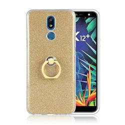 Luxury Soft TPU Glitter Back Ring Cover with 360 Rotate Finger Holder Buckle for LG K40 (LG K12+, LG K12 Plus) - Golden
