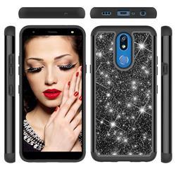 Glitter Rhinestone Bling Shock Absorbing Hybrid Defender Rugged Phone Case Cover for LG K40 (LG K12+, LG K12 Plus) - Black