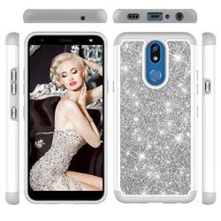 Glitter Rhinestone Bling Shock Absorbing Hybrid Defender Rugged Phone Case Cover for LG K40 (LG K12+, LG K12 Plus) - Gray