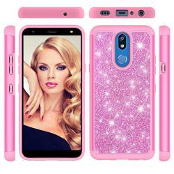 Glitter Rhinestone Bling Shock Absorbing Hybrid Defender Rugged Phone Case Cover for LG K40 (LG K12+, LG K12 Plus) - Pink