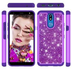 Glitter Rhinestone Bling Shock Absorbing Hybrid Defender Rugged Phone Case Cover for LG K40 (LG K12+, LG K12 Plus) - Purple