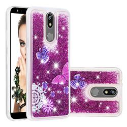 Purple Flower Butterfly Dynamic Liquid Glitter Quicksand Soft TPU Case for LG K40 (LG K12+, LG K12 Plus)