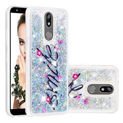 Smile Flower Dynamic Liquid Glitter Quicksand Soft TPU Case for LG K40 (LG K12+, LG K12 Plus)