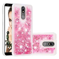Dynamic Liquid Glitter Quicksand Sequins TPU Phone Case for LG K40 (LG K12+, LG K12 Plus) - Rose