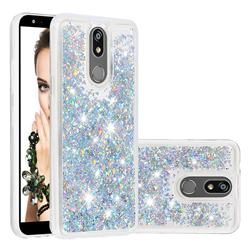 Dynamic Liquid Glitter Quicksand Sequins TPU Phone Case for LG K40 (LG K12+, LG K12 Plus) - Silver