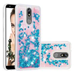 Dynamic Liquid Glitter Quicksand Sequins TPU Phone Case for LG K40 (LG K12+, LG K12 Plus) - Blue