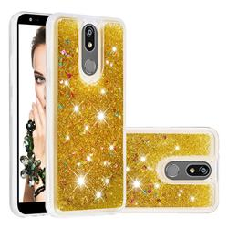 Dynamic Liquid Glitter Quicksand Sequins TPU Phone Case for LG K40 (LG K12+, LG K12 Plus) - Golden