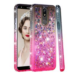 Diamond Frame Liquid Glitter Quicksand Sequins Phone Case for LG K40 (LG K12+, LG K12 Plus) - Gray Pink