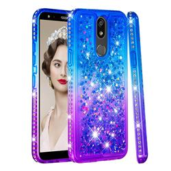 Diamond Frame Liquid Glitter Quicksand Sequins Phone Case for LG K40 (LG K12+, LG K12 Plus) - Blue Purple