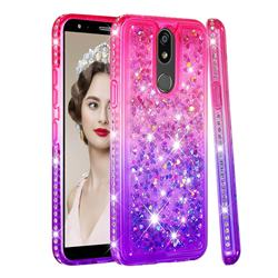 Diamond Frame Liquid Glitter Quicksand Sequins Phone Case for LG K40 (LG K12+, LG K12 Plus) - Pink Purple