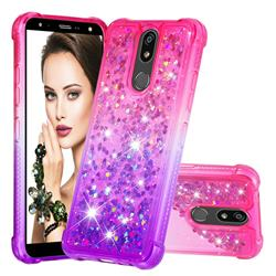 Rainbow Gradient Liquid Glitter Quicksand Sequins Phone Case for LG K40 (LG K12+, LG K12 Plus) - Pink Purple