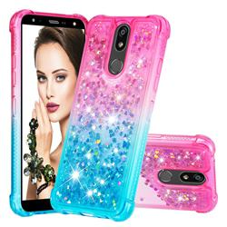 Rainbow Gradient Liquid Glitter Quicksand Sequins Phone Case for LG K40 (LG K12+, LG K12 Plus) - Pink Blue
