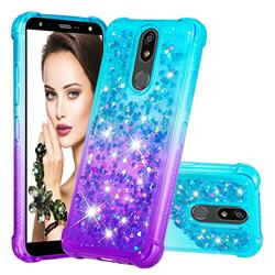 Rainbow Gradient Liquid Glitter Quicksand Sequins Phone Case for LG K40 (LG K12+, LG K12 Plus) - Blue Purple