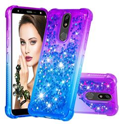 Rainbow Gradient Liquid Glitter Quicksand Sequins Phone Case for LG K40 (LG K12+, LG K12 Plus) - Purple Blue