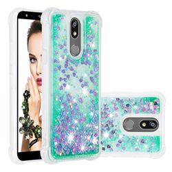 Dynamic Liquid Glitter Sand Quicksand TPU Case for LG K40 (LG K12+, LG K12 Plus) - Green Love Heart