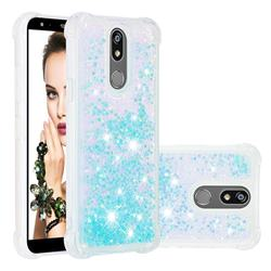 Dynamic Liquid Glitter Sand Quicksand TPU Case for LG K40 (LG K12+, LG K12 Plus) - Silver Blue Star
