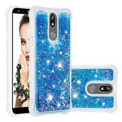 Dynamic Liquid Glitter Sand Quicksand TPU Case for LG K40 (LG K12+, LG K12 Plus) - Blue Love Heart