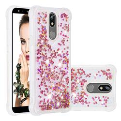 Dynamic Liquid Glitter Sand Quicksand TPU Case for LG K40 (LG K12+, LG K12 Plus) - Rose Gold Love Heart