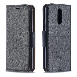Classic Luxury Litchi Leather Phone Wallet Case for LG K40 (LG K12+, LG K12 Plus) - Black