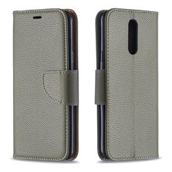 Classic Luxury Litchi Leather Phone Wallet Case for LG K40 (LG K12+, LG K12 Plus) - Gray