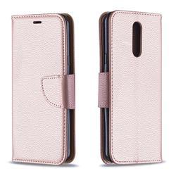 Classic Luxury Litchi Leather Phone Wallet Case for LG K40 (LG K12+, LG K12 Plus) - Golden
