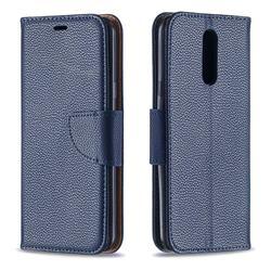 Classic Luxury Litchi Leather Phone Wallet Case for LG K40 (LG K12+, LG K12 Plus) - Blue