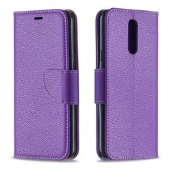 Classic Luxury Litchi Leather Phone Wallet Case for LG K40 (LG K12+, LG K12 Plus) - Purple