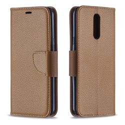 Classic Luxury Litchi Leather Phone Wallet Case for LG K40 (LG K12+, LG K12 Plus) - Brown