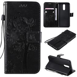 Embossing Butterfly Tree Leather Wallet Case for LG K40 (LG K12+, LG K12 Plus) - Black