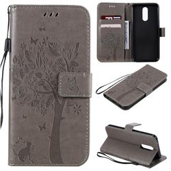Embossing Butterfly Tree Leather Wallet Case for LG K40 (LG K12+, LG K12 Plus) - Grey
