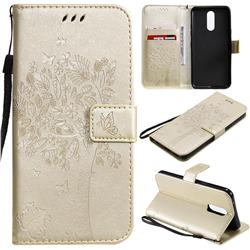Embossing Butterfly Tree Leather Wallet Case for LG K40 (LG K12+, LG K12 Plus) - Champagne