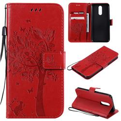 Embossing Butterfly Tree Leather Wallet Case for LG K40 (LG K12+, LG K12 Plus) - Red