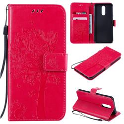 Embossing Butterfly Tree Leather Wallet Case for LG K40 (LG K12+, LG K12 Plus) - Rose