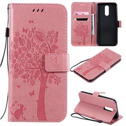 Embossing Butterfly Tree Leather Wallet Case for LG K40 (LG K12+, LG K12 Plus) - Pink