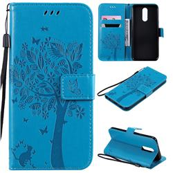 Embossing Butterfly Tree Leather Wallet Case for LG K40 (LG K12+, LG K12 Plus) - Blue