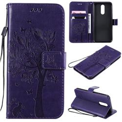 Embossing Butterfly Tree Leather Wallet Case for LG K40 (LG K12+, LG K12 Plus) - Purple