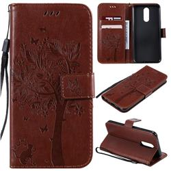 Embossing Butterfly Tree Leather Wallet Case for LG K40 (LG K12+, LG K12 Plus) - Coffee