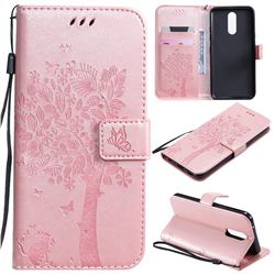 Embossing Butterfly Tree Leather Wallet Case for LG K40 (LG K12+, LG K12 Plus) - Rose Pink