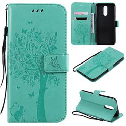 Embossing Butterfly Tree Leather Wallet Case for LG K40 (LG K12+, LG K12 Plus) - Cyan