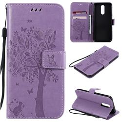 Embossing Butterfly Tree Leather Wallet Case for LG K40 (LG K12+, LG K12 Plus) - Violet