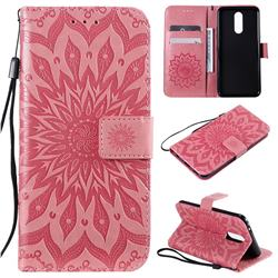 Embossing Sunflower Leather Wallet Case for LG K40 (LG K12+, LG K12 Plus) - Pink