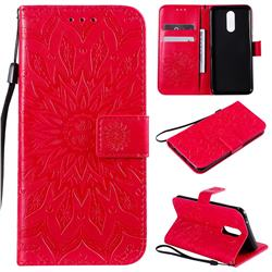 Embossing Sunflower Leather Wallet Case for LG K40 (LG K12+, LG K12 Plus) - Red