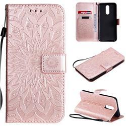 Embossing Sunflower Leather Wallet Case for LG K40 (LG K12+, LG K12 Plus) - Rose Gold