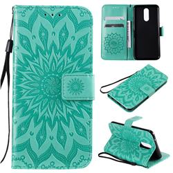 Embossing Sunflower Leather Wallet Case for LG K40 (LG K12+, LG K12 Plus) - Green