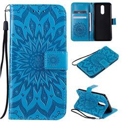 Embossing Sunflower Leather Wallet Case for LG K40 (LG K12+, LG K12 Plus) - Blue