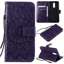 Embossing Sunflower Leather Wallet Case for LG K40 (LG K12+, LG K12 Plus) - Purple